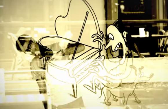 piano man on window